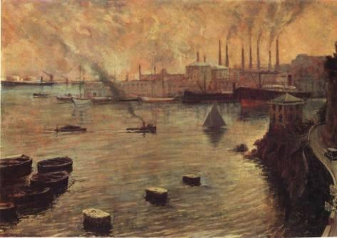 L'ILVA e il porto in un dipinto degli anni Trenta.