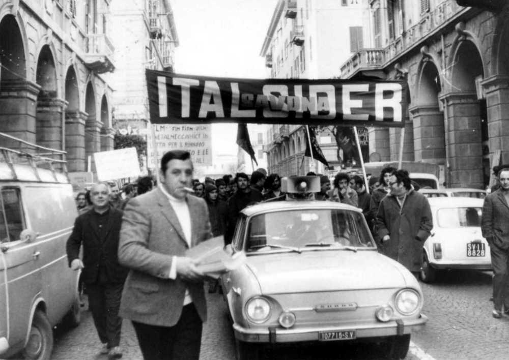 Grande sciopero nel centro di Savona negli anni Settanta.