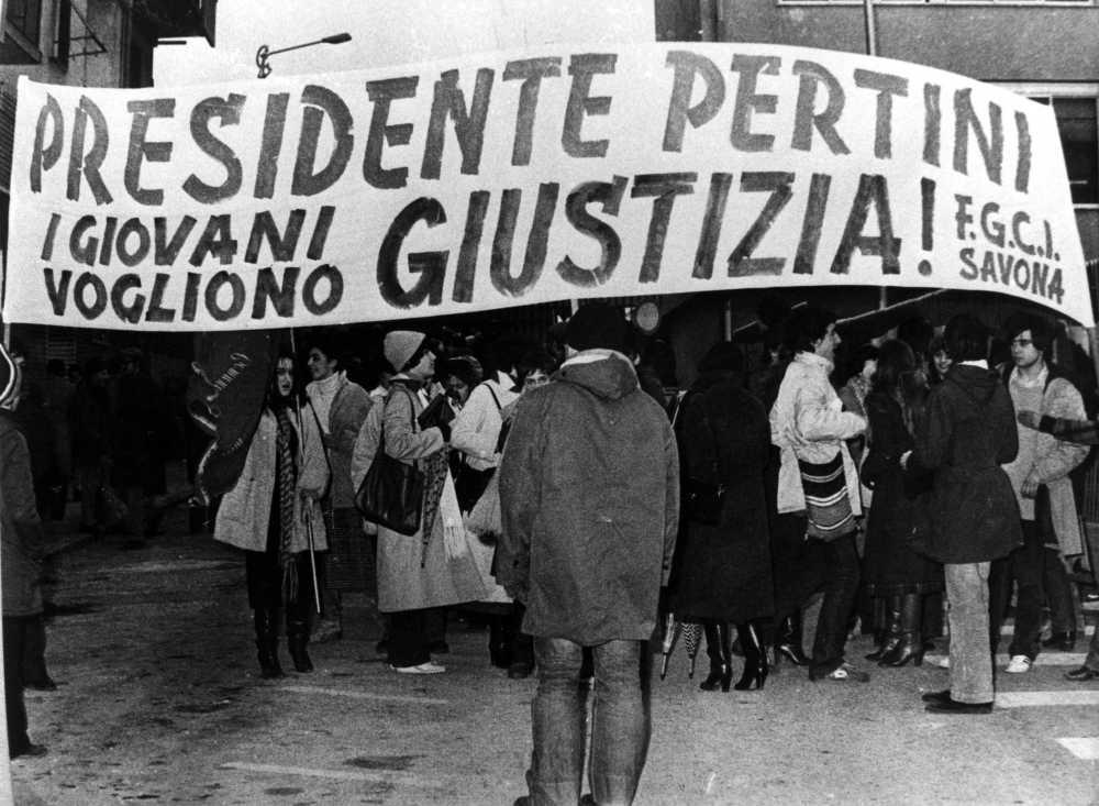 Corteo antifiascista durante la visita di Sandro Pertini.