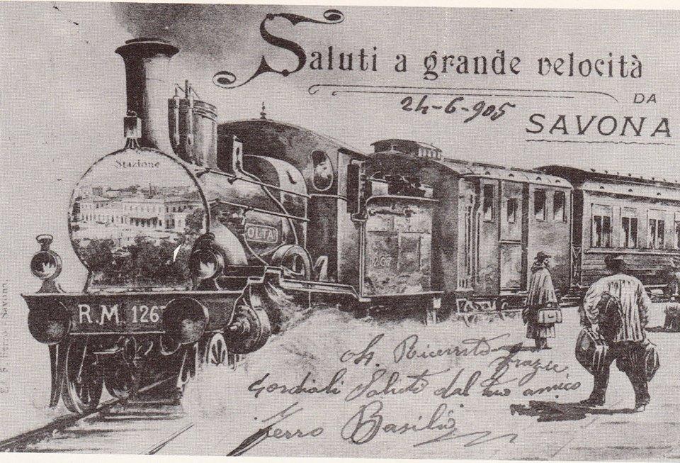 Cartolina d'epoca che sponsorizza i collegamenti ferroviari con Savona: la nascita dei trasporti ferroviari contribuì allo sviluppo economico, sociale ed industriale del savonese.
